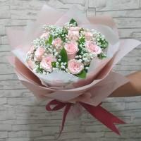 Buket Bunga Mawar Soft Pink - Universal Love