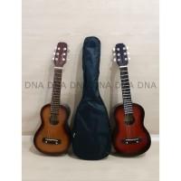Gitar Mini Acoustic 6 Strings + Cover Ukulele 6 Senar + Cover