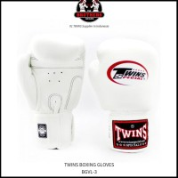 TERMURAH SARUNG TINJU TWINS 10 OZ BOXING MUAY THAI - WHITE RECOMMENDED