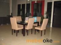 Meja Makan Minimalis (+ 6 Kursi Jati Cover)| MK-M5