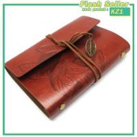 KZ1 Buku Catatan Binder Kulit Retro Leaf Kertas A6 - Brown