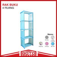 Rak Buku Serbaguna 5 Susun 4 Ruang Portable Lemari Multifungsi Blue