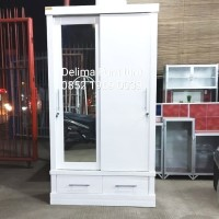 lemari pakaian 2 pintu sliding laci duco /lemari duco/lemari minimalis
