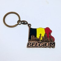 Souvenir gantungan kunci bendera belgium negara Belgia