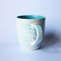 Glass White And Blue Brush / Gelas / Mug / Keramik / Cantik / Unik