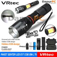 Paket Senter E17 VRTEC COB Senter LED Torch Cree XM-L T6 Gratis TAS