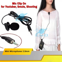 Mini Microphone Jack 3.5mm Dengan Jepit Klip Microphone Clip On