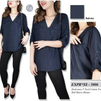 blouse dusk navy v neck express
