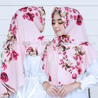 Hijab ORI Khimar Pad Motif Bunga Unik Bubble Printing High Quality