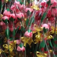 HOT SALE Buket bunga mawar flanel 1 tangkai untuk hadiah wisuda- dll