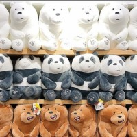 Miniso - Boneka We Bare Bears Doll Sitting Ice bear Grizzly Panda