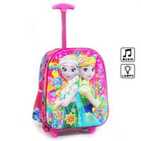 Tas Troli Anak TK PG Frozen 7D Hologram 2 Kantong Pink Lampu Music