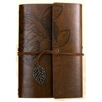 Buku Catatan Binder Kulit Retro Leaf Kertas A6 - Coffee