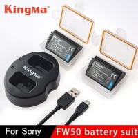 Kingma Dual Charger + 2 Baterai FW50 Sony Aplha A6000 A6300 Seris A7