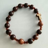 gelang rosario kayu stigi salib Tao