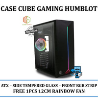 CASING PC CUBE GAMING HUMBOLT - SIDE TEMPERED GLASS - FRONT RGB STRIP