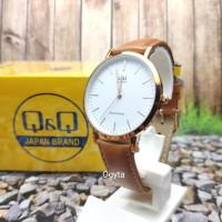 Q&Q QQ Model DW Jam Tangan Kulit Cokelat Q978J101Y Original
