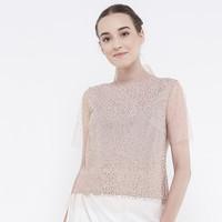 Atelier Mode Top Crystal Tulle Amandine Peach Blouse Wanita