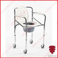 Kursi Toilet BAB Commode Chair dengan Roda Buang Air Bongkar Pasang