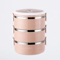 LUNCH BOX SET/RANTANG SUSUN 3 STAINLESS STEEL/TEMPAT MAKAN ( PINK )