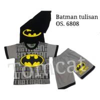 Setelan Pendek Batman Tulisan Kaos Baju Anak Cowok Superhero
