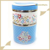 Vicenza Lunch Box 2 Susun VLB112 Biru Motif Poppy Stainless Steel