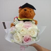 Hand Bouquet boneka / Buket Bunga Wisuda / Bucket Bunga / Bunga Mawar