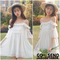 Mini Dress Gaun Pesta Putih Sexy Sabrina Summer Pantai Bohemian Korea