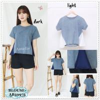 Baju Atasan Denim Wanita Blouse Bangkok Korea Import AB59975
