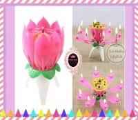 Lilin Ultah / Lilin Musik Bunga Lotus / Music Candle / Lotus Candle
