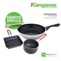 Kangaroo Alat Masak 3 Set Teflon & Sauce Pan Marble FREE Spatula