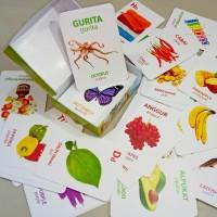 Flash Card 96 kartu - Huruf Angka Hewan Warna Bentuk Buah Sayur