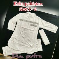 baju koko anak stelan pakistan putih size 1-6