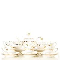 Teaset Keramik White Gold Capodimonte 18 pcs