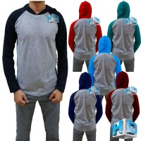 HD Kaos raglan polos hoodie / kaos bertopi pria / baju raglan hoodie