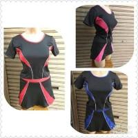 JdF - Setelan Lycra Rok Lengan Pendek / baju olahraga senam renang