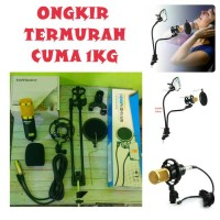 Paket Microphone Bm800, BM700 Stand mic 3 in 1 (Flexible Stand