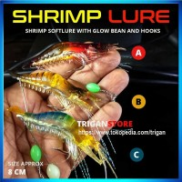 Umpan Pancing Udang Luminous Soft Lure Dengan Kail 8 cm
