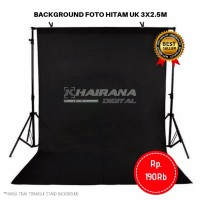Kain Background Backdrop Studio Foto 3x2.5 Meter -HITAM POLOS-