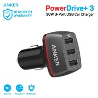 Anker PowerDrive+ 3 USB 3 Port Car Charger - Black [A2231011]