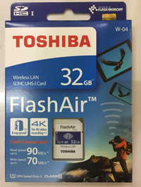 TOSHIBA FLASH AIR 32GB WIFI SD CARD WIRELESS W-04 LAN FLASHAIR W04 ORI