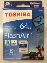 TOSHIBA FLASH AIR 64GB WIFI SD CARD WIRELESS LAN FLASHAIR ORIGINAL
