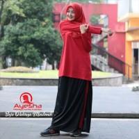 Setelan Baju Olahraga Wanita Muslimah Rok Celana Training Senam