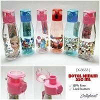 X-3653 Botol Minum Anak Karakter BPA Tombol Lock Frozen, Thomas,