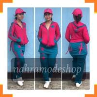 Pakaian Olahraga Wanita 1177 Set senam rok baju senam kupluk baju