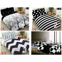 Bedcover Set 180x200 Black White / Bed Cover + Seprei Sprei 180 kado