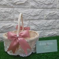 Flower Girl Basket Rustic Keranjang Bunga Rotan Wedding Pernikahan