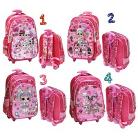 New LOL Surprise Tas Trolley Anak SD Motif 5D Timbul 3 KANTUNG Import
