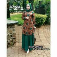 Gamis Meisya Batik Sogan Rempel Kombinasi