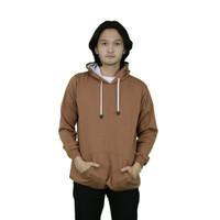 Jaket Sweater Polos Hoodie Jumper Coklat - Premium Quality